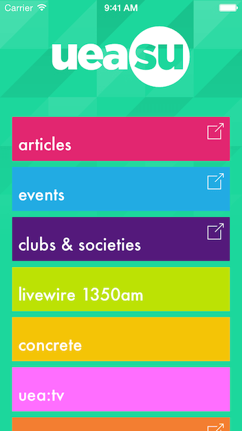 Home screen showing functions of the UEA Students Union iOS app